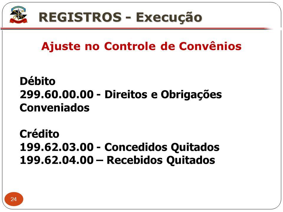 24 X REGISTROS - Execução Ajuste no Controle de Convênios Débito 299.60.00.00 - Direitos e Obrigações Conveniados Crédito 199.62.03.00 - Concedidos Qu