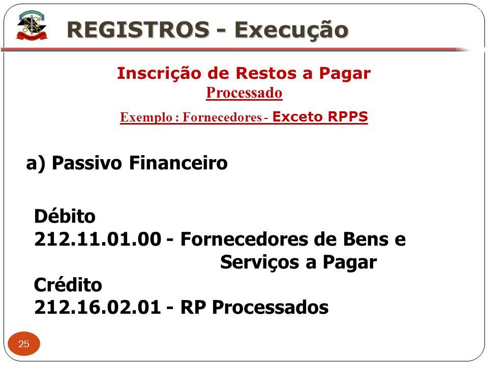 25 X REGISTROS - Execução Inscrição de Restos a Pagar Processado Exemplo : Fornecedores - Exceto RPPS a) Passivo Financeiro Débito 212.11.01.00 - Forn