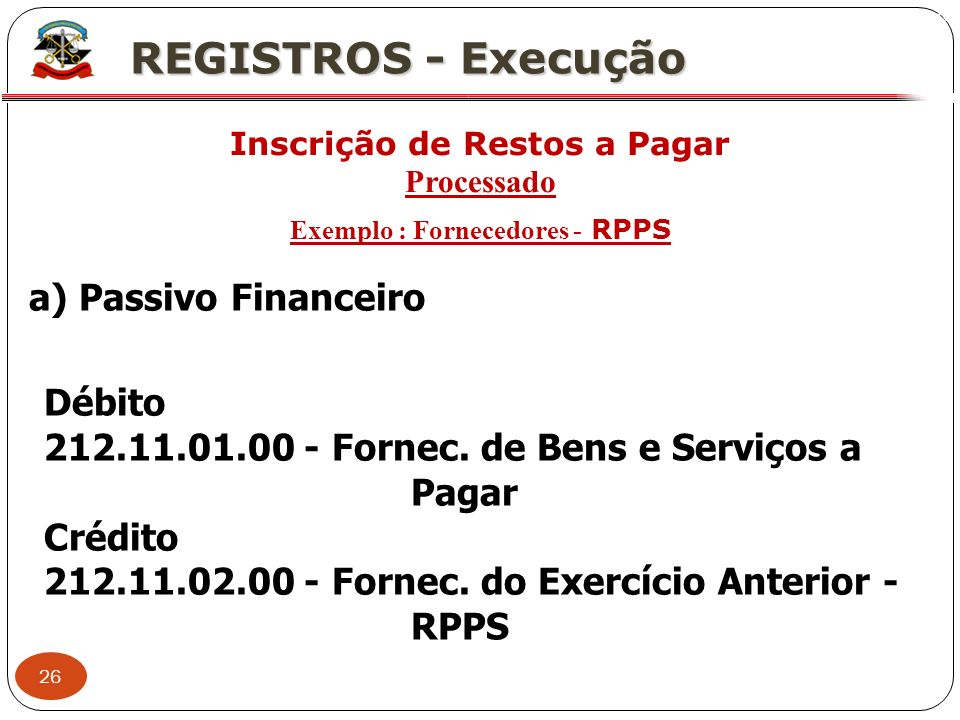 26 X REGISTROS - Execução Inscrição de Restos a Pagar Processado Exemplo : Fornecedores - RPPS a) Passivo Financeiro Débito 212.11.01.00 - Fornec. de