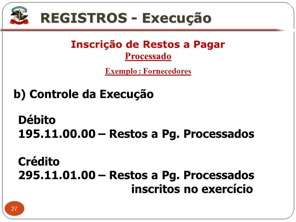 27 X REGISTROS - Execução Inscrição de Restos a Pagar Processado Exemplo : Fornecedores b) Controle da Execução Débito 195.11.00.00 – Restos a Pg. Pro