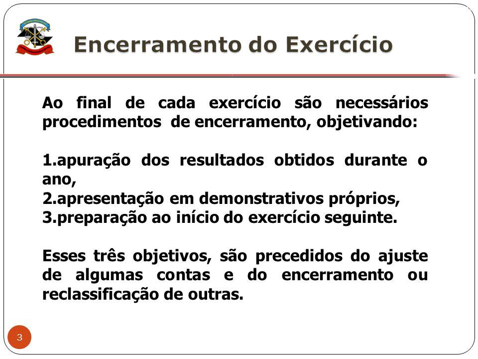 3 X Ao final de cada exercício são necessários procedimentos de encerramento, objetivando: 1.apuração dos resultados obtidos durante o ano, 2.apresent