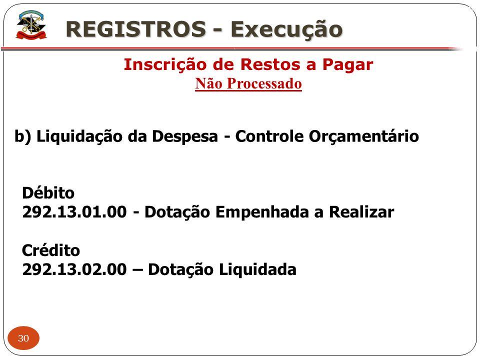 30 X REGISTROS - Execução Inscrição de Restos a Pagar Não Processado b) Liquidação da Despesa - Controle Orçamentário Débito 292.13.01.00 - Dotação Em