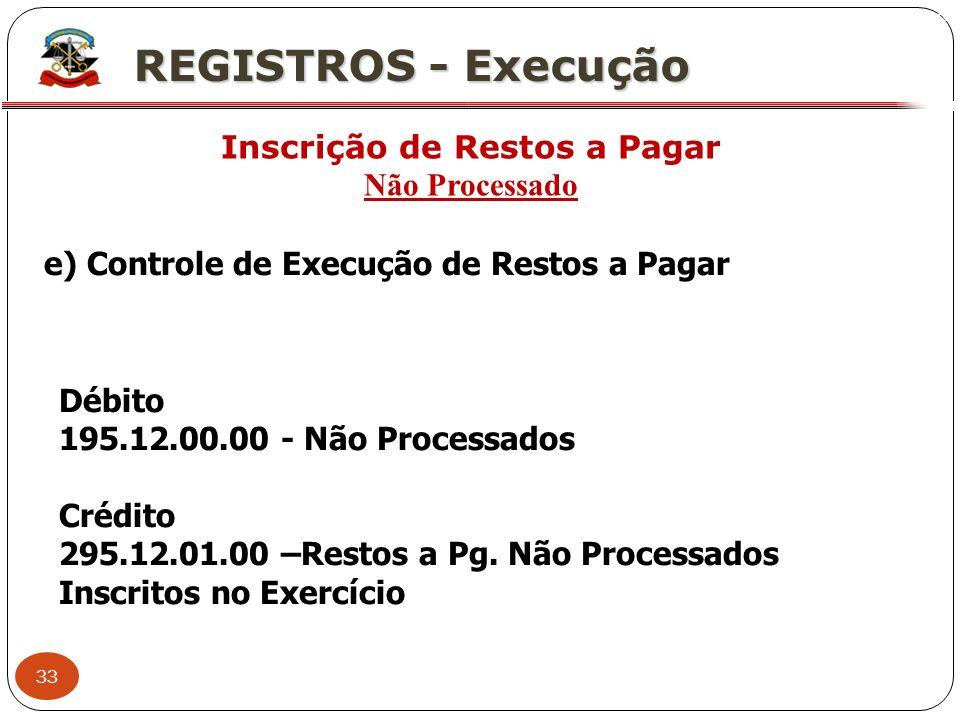 33 X REGISTROS - Execução Inscrição de Restos a Pagar Não Processado e) Controle de Execução de Restos a Pagar Débito 195.12.00.00 - Não Processados C