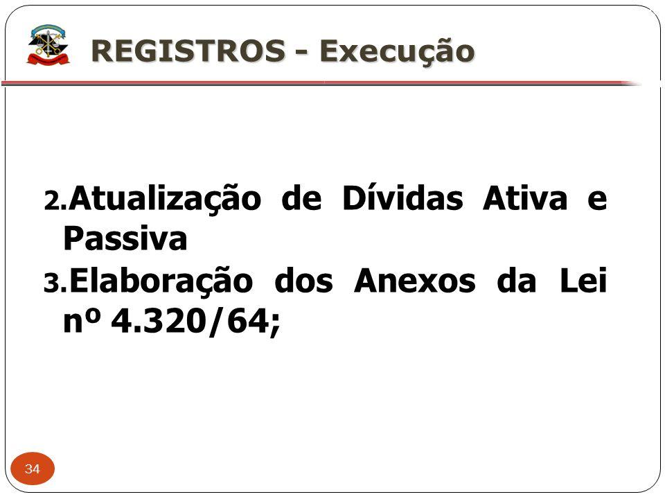 34 X REGISTROS - Execução 2. Atualização de Dívidas Ativa e Passiva 3. Elaboração dos Anexos da Lei nº 4.320/64;