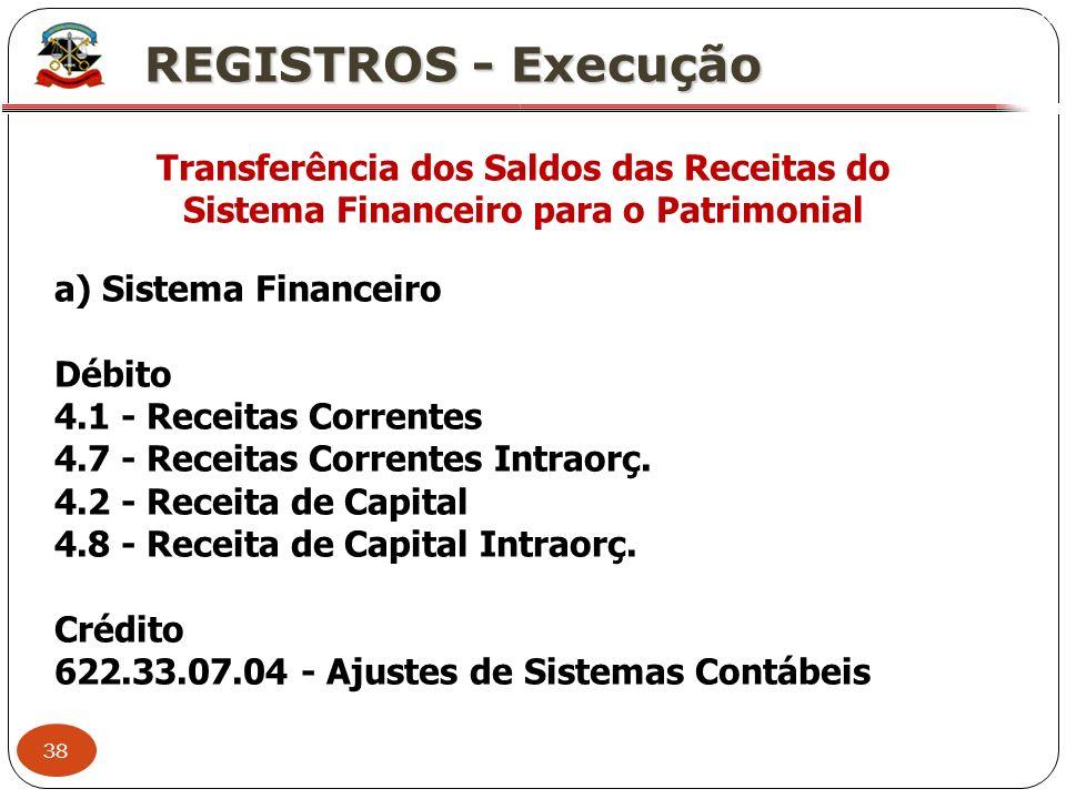 38 X REGISTROS - Execução Transferência dos Saldos das Receitas do Sistema Financeiro para o Patrimonial a) Sistema Financeiro Débito 4.1 - Receitas C