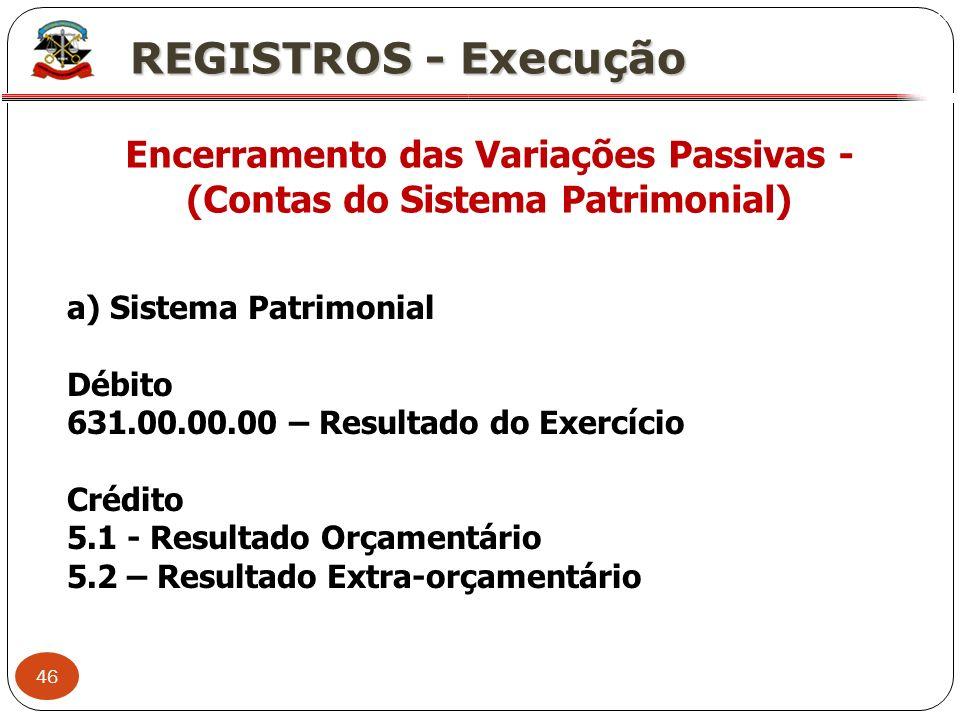 46 X REGISTROS - Execução Encerramento das Variações Passivas - (Contas do Sistema Patrimonial) a) Sistema Patrimonial Débito 631.00.00.00 – Resultado