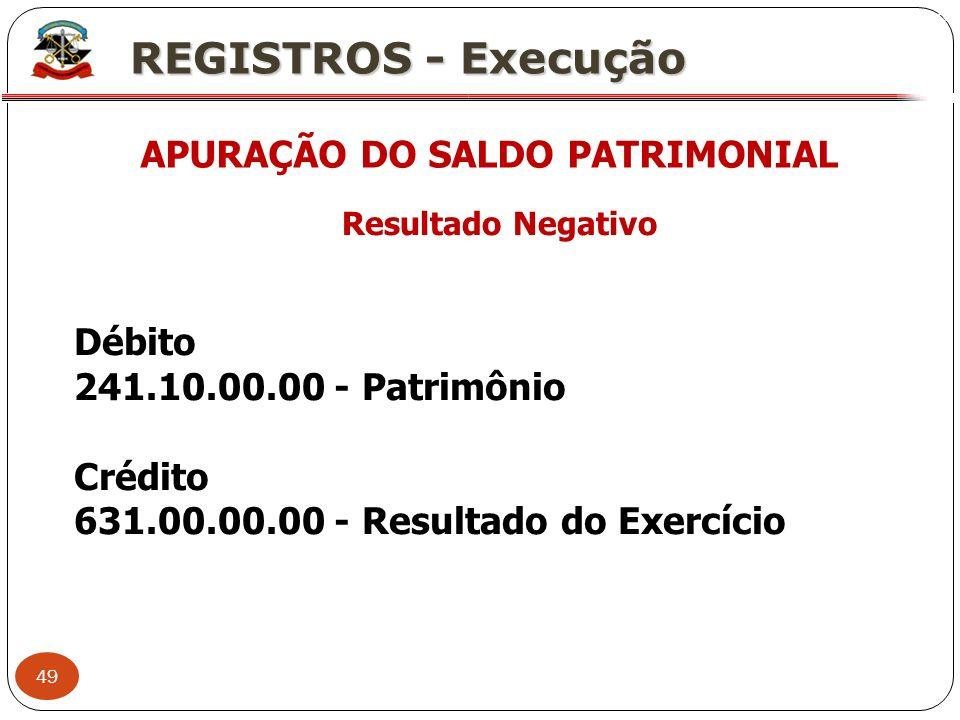 49 X REGISTROS - Execução APURAÇÃO DO SALDO PATRIMONIAL Resultado Negativo Débito 241.10.00.00 - Patrimônio Crédito 631.00.00.00 - Resultado do Exercí