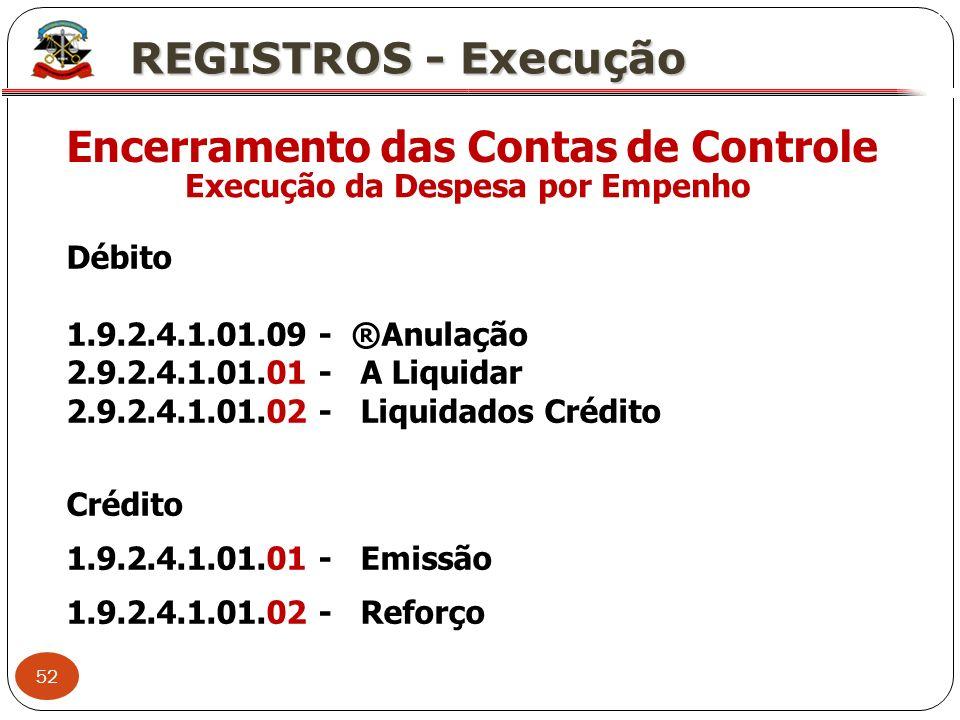 52 X REGISTROS - Execução Encerramento das Contas de Controle Execução da Despesa por Empenho Débito 1.9.2.4.1.01.09 - ®Anulação 2.9.2.4.1.01.01 - A L