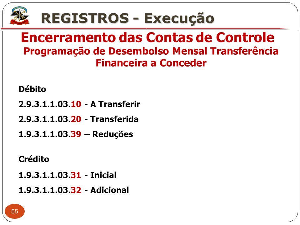 55 X REGISTROS - Execução Encerramento das Contas de Controle Programação de Desembolso Mensal Transferência Financeira a Conceder Débito 2.9.3.1.1.03