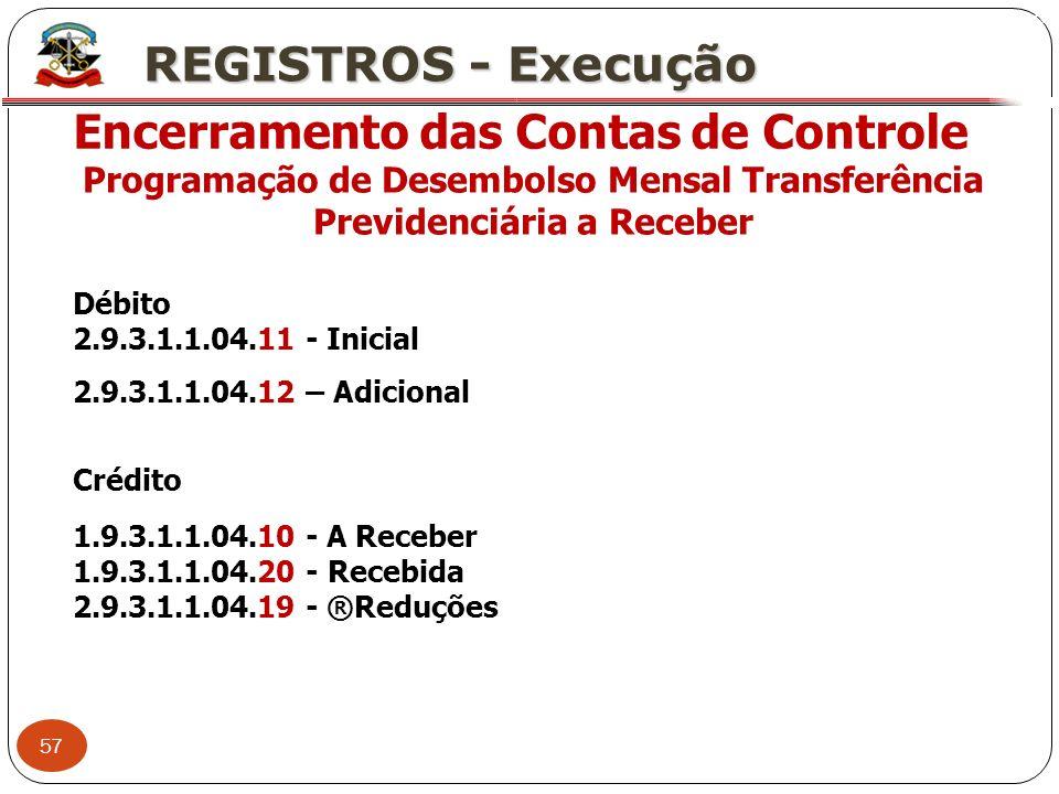 57 X REGISTROS - Execução Encerramento das Contas de Controle Programação de Desembolso Mensal Transferência Previdenciária a Receber Débito 2.9.3.1.1