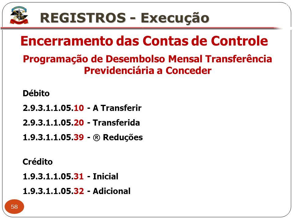 58 X REGISTROS - Execução Encerramento das Contas de Controle Programação de Desembolso Mensal Transferência Previdenciária a Conceder Débito 2.9.3.1.