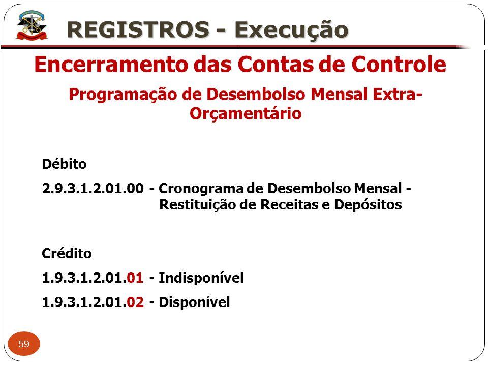 59 X REGISTROS - Execução Encerramento das Contas de Controle Programação de Desembolso Mensal Extra- Orçamentário Débito 2.9.3.1.2.01.00 - Cronograma
