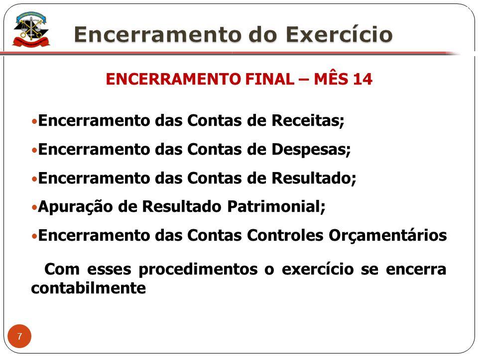 7 X ENCERRAMENTO FINAL – MÊS 14 Encerramento das Contas de Receitas; Encerramento das Contas de Despesas; Encerramento das Contas de Resultado; Apuraç
