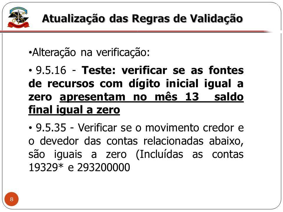 9 X Alteração na verificação: 11.5.8 – No mês 14, verificar se os códigos contábeis (relacionados abaixo) que exigem conta-corrente e tiveram movimento no período de referência vieram acompanhados das respectivas contas-correntes