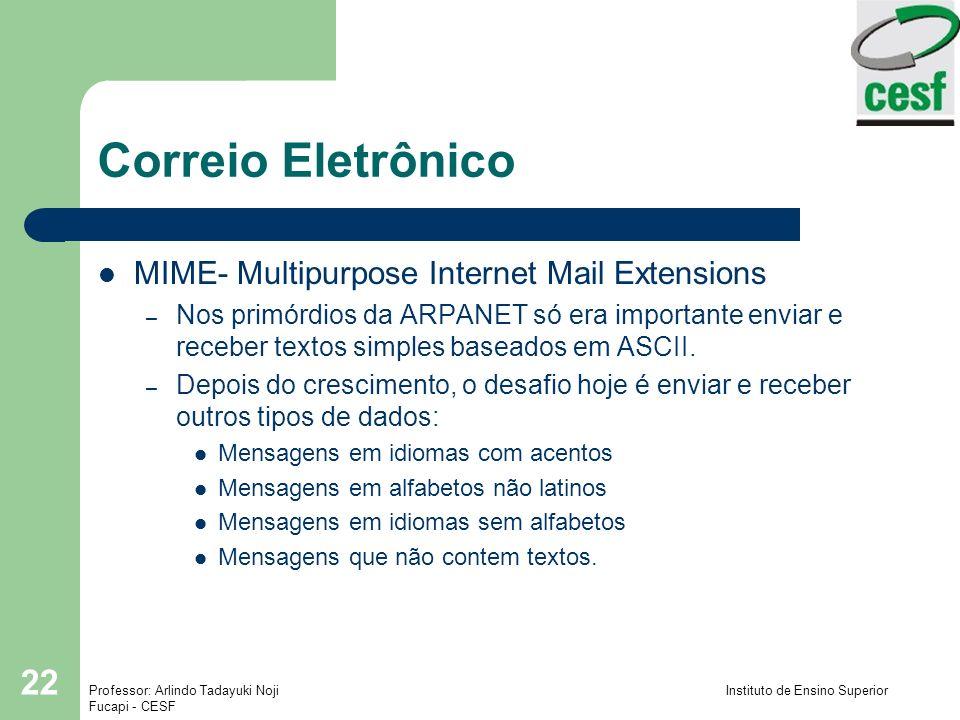 Professor: Arlindo Tadayuki Noji Instituto de Ensino Superior Fucapi - CESF 22 Correio Eletrônico MIME- Multipurpose Internet Mail Extensions – Nos pr