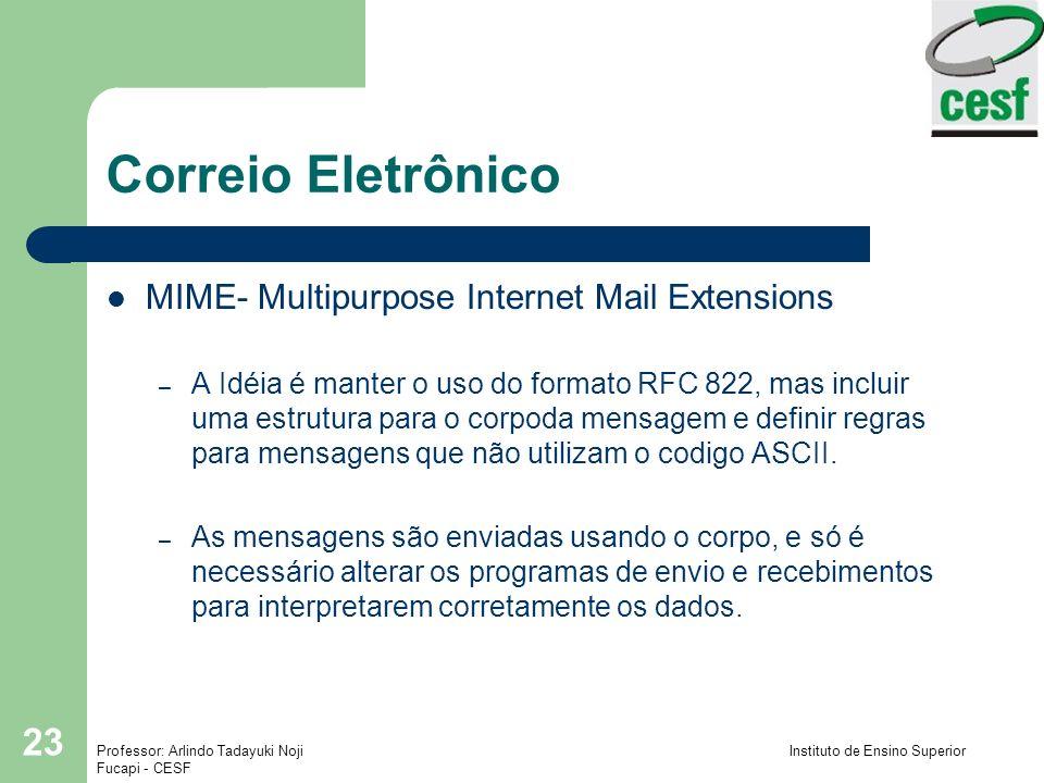 Professor: Arlindo Tadayuki Noji Instituto de Ensino Superior Fucapi - CESF 23 Correio Eletrônico MIME- Multipurpose Internet Mail Extensions – A Idéi