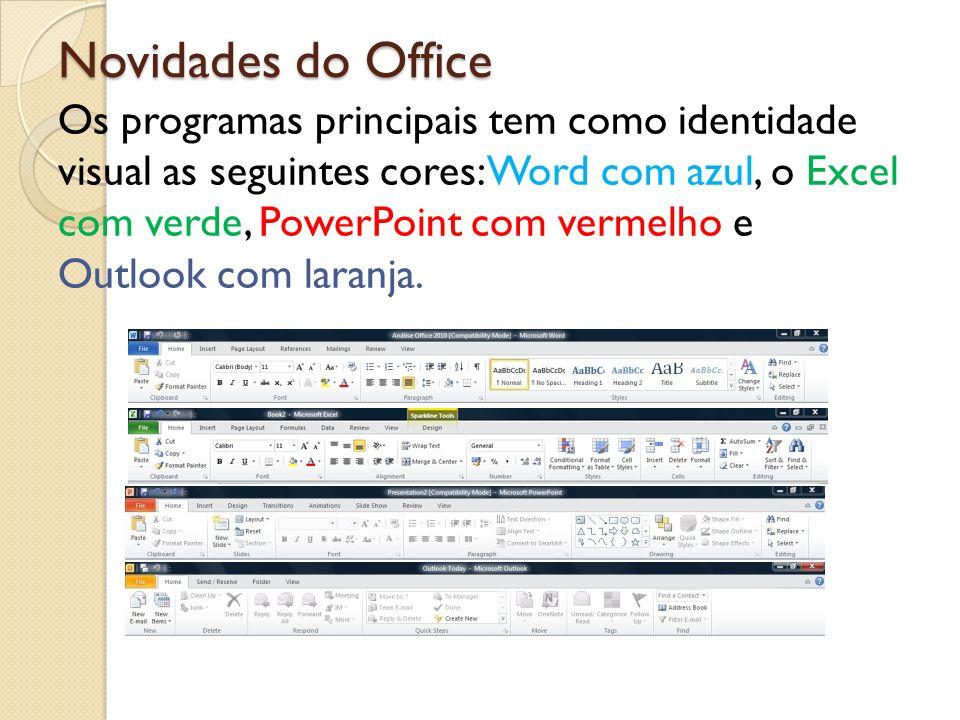 Novidades do Office Os programas principais tem como identidade visual as seguintes cores: Word com azul, o Excel com verde, PowerPoint com vermelho e