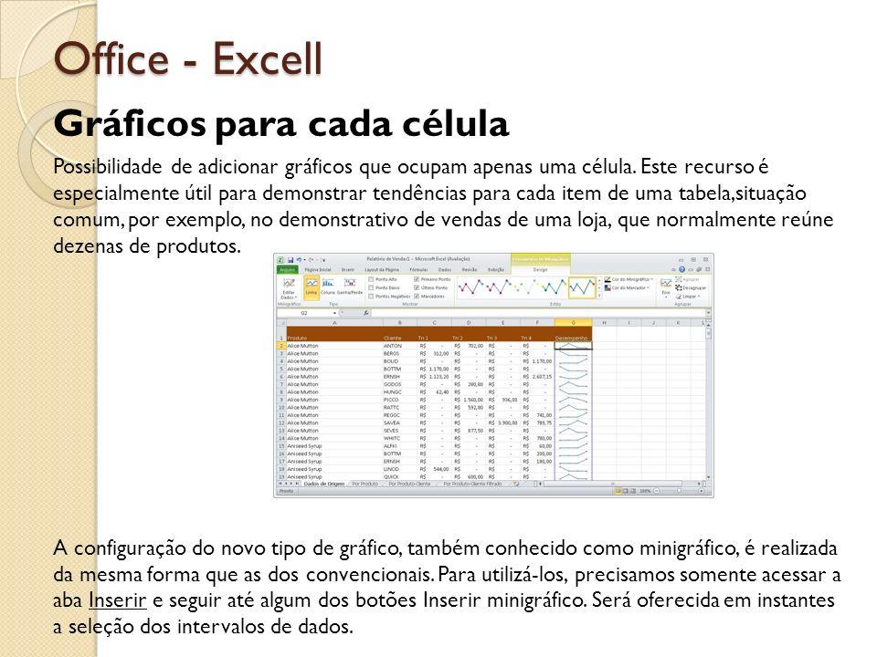 Office - Excell Gráficos para cada célula Possibilidade de adicionar gráficos que ocupam apenas uma célula. Este recurso é especialmente útil para dem