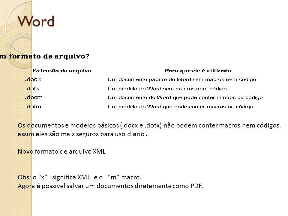Word Compartilhar documentos entre versões com formato antigo 1 Para salvar um documento na nova versão do Word use o comando Salvar como.