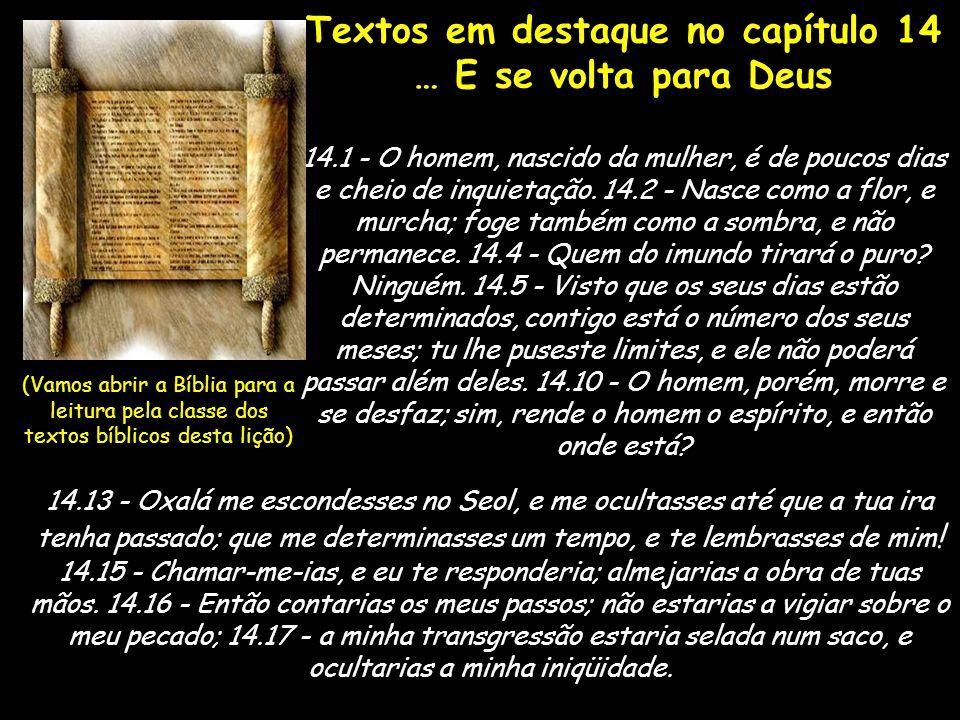 Textos em destaque no capítulo 14 … E se volta para Deus 14.1 - O homem, nascido da mulher, é de poucos dias e cheio de inquietação. 14.2 - Nasce como