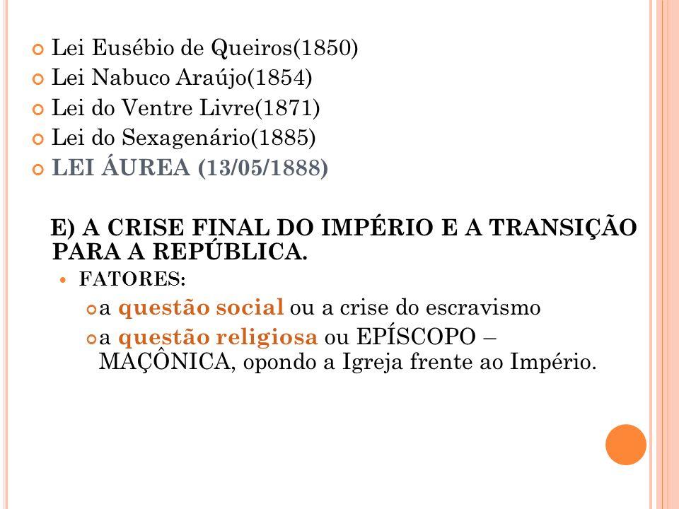 Lei Eusébio de Queiros(1850) Lei Nabuco Araújo(1854) Lei do Ventre Livre(1871) Lei do Sexagenário(1885) LEI ÁUREA (13/05/1888) E) A CRISE FINAL DO IMP