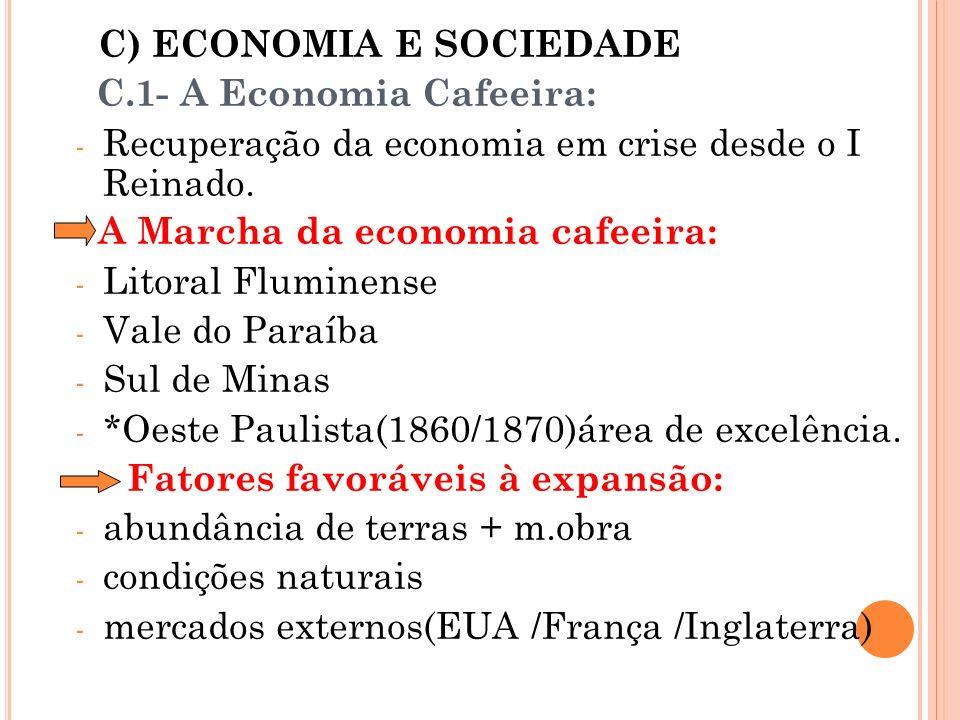 C) ECONOMIA E SOCIEDADE C.1- A Economia Cafeeira: - Recuperação da economia em crise desde o I Reinado. A Marcha da economia cafeeira: - Litoral Flumi