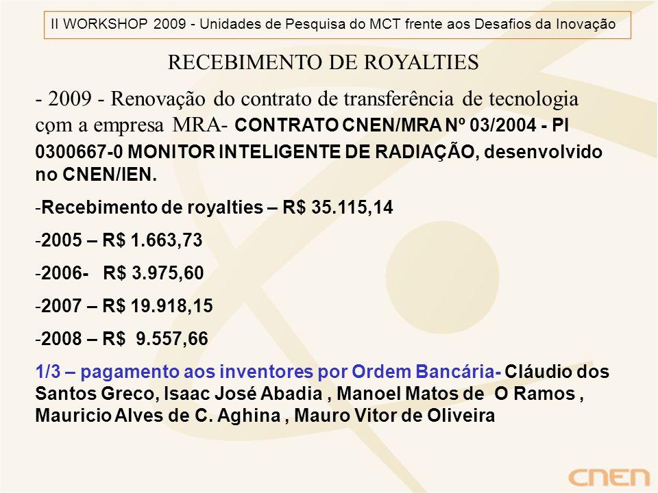 . RECEBIMENTO DE ROYALTIES - 2009 - Renovação do contrato de transferência de tecnologia com a empresa MRA- CONTRATO CNEN/MRA Nº 03/2004 - PI 0300667-