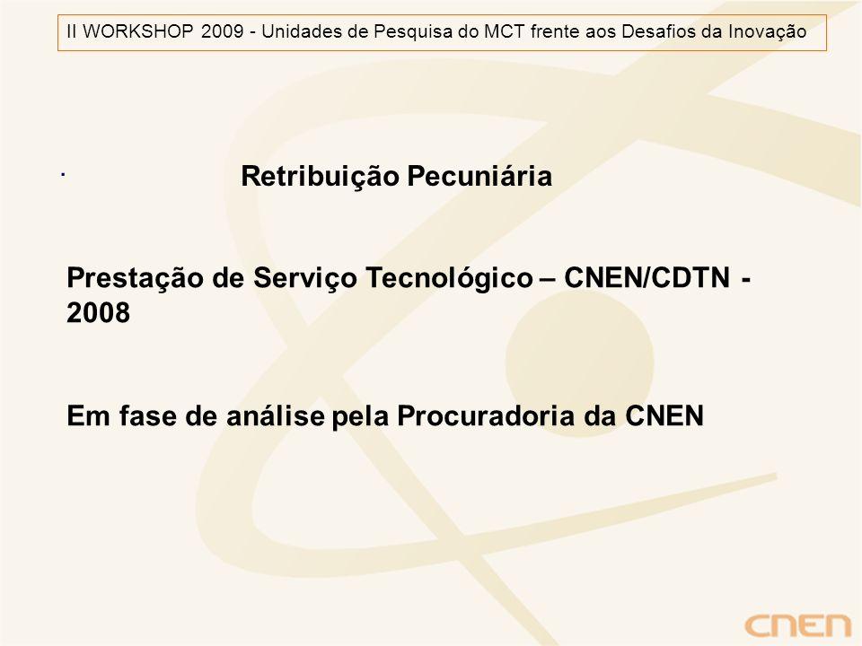 . Retribuição Pecuniária Prestação de Serviço Tecnológico – CNEN/CDTN - 2008 Em fase de análise pela Procuradoria da CNEN II WORKSHOP 2009 - Unidades