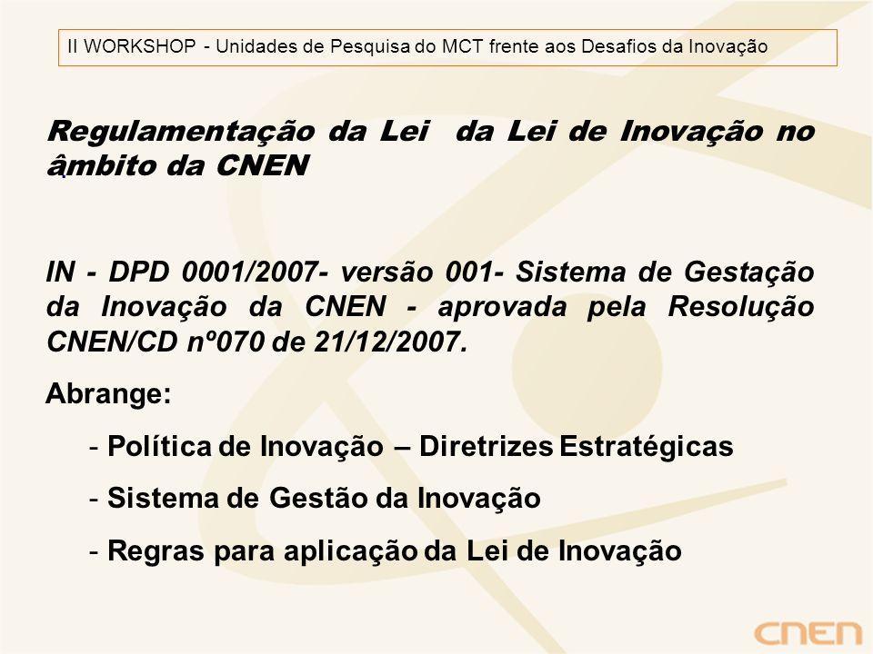 . II WORKSHOP - Unidades de Pesquisa do MCT frente aos Desafios da Inovação Regulamentação da Lei da Lei de Inovação no âmbito da CNEN IN - DPD 0001/2