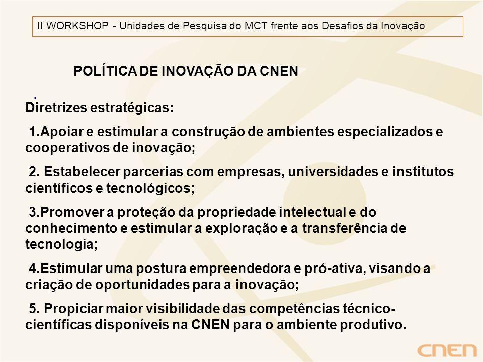 . II WORKSHOP - Unidades de Pesquisa do MCT frente aos Desafios da Inovação Diretrizes estratégicas: 1.Apoiar e estimular a construção de ambientes es