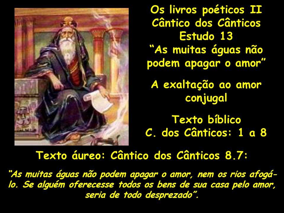 Os livros poéticos II Cântico dos Cânticos Estudo 13 As muitas águas não podem apagar o amor A exaltação ao amor conjugal Texto bíblico C. dos Cântico