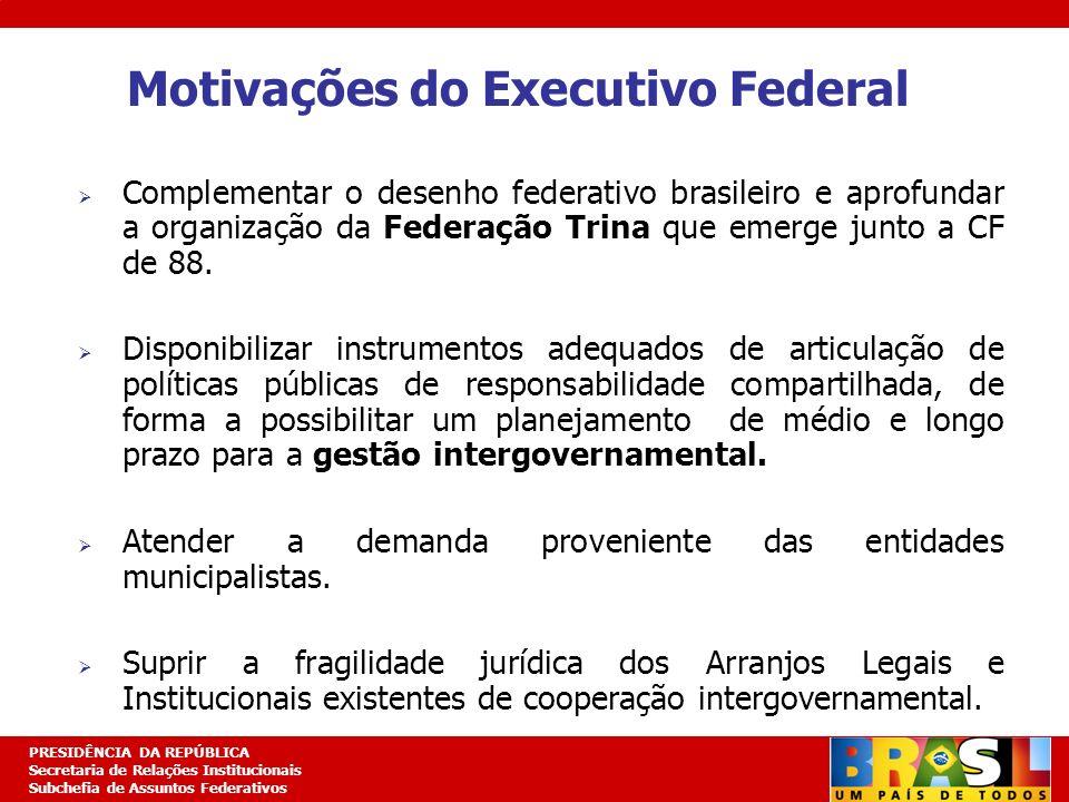 Planejamento Estratégico PRESIDÊNCIA DA REPÚBLICA Secretaria de Relações Institucionais Subchefia de Assuntos Federativos Motivações do Executivo Fede