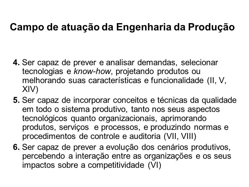 Campo de atuação da Engenharia da Produção 4. Ser capaz de prever e analisar demandas, selecionar tecnologias e know-how, projetando produtos ou melho