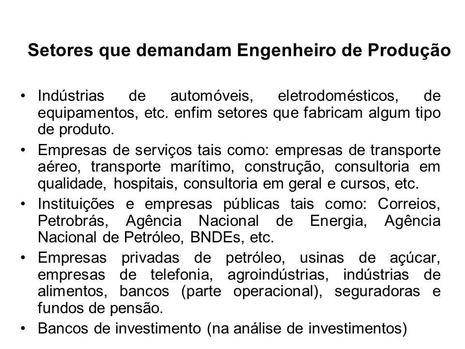 Setores que demandam Engenheiro de Produção Indústrias de automóveis, eletrodomésticos, de equipamentos, etc. enfim setores que fabricam algum tipo de