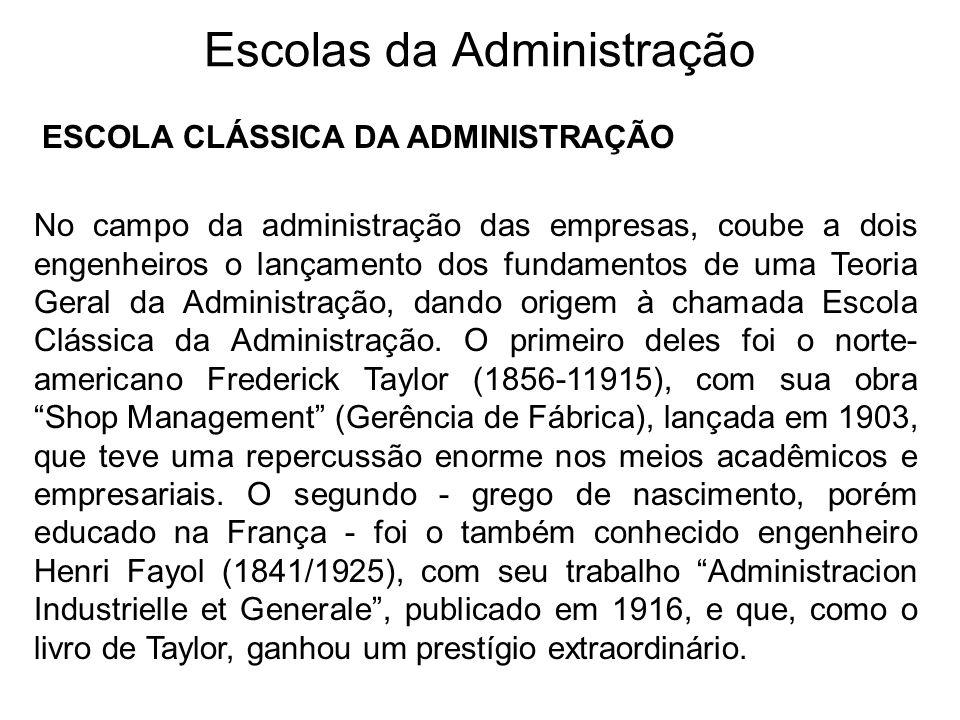 Escolas da Administração ESCOLA CLÁSSICA DA ADMINISTRAÇÃO No campo da administração das empresas, coube a dois engenheiros o lançamento dos fundamento