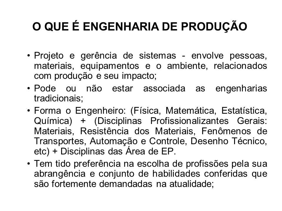 O QUE É ENGENHARIA DE PRODUÇÃO Projeto e gerência de sistemas - envolve pessoas, materiais, equipamentos e o ambiente, relacionados com produção e seu