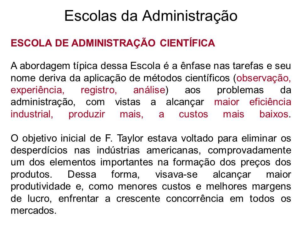 Escolas da Administração ESCOLA DE ADMINISTRAÇÃO CIENTÍFICA A abordagem típica dessa Escola é a ênfase nas tarefas e seu nome deriva da aplicação de m