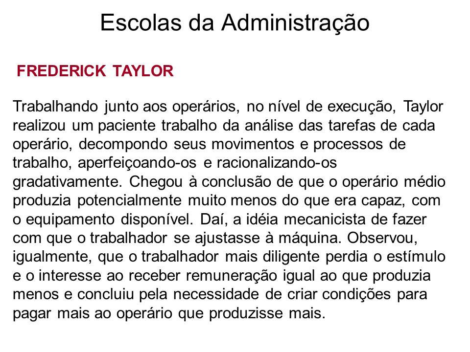 Escolas da Administração FREDERICK TAYLOR Trabalhando junto aos operários, no nível de execução, Taylor realizou um paciente trabalho da análise das t