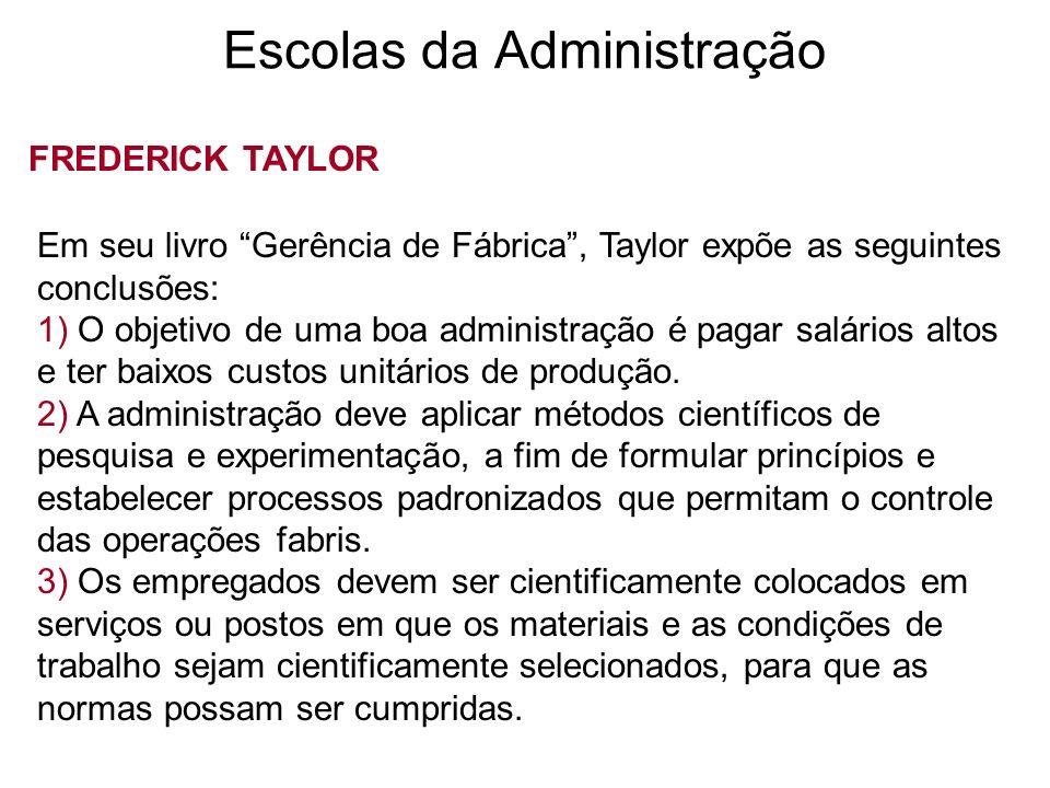 Escolas da Administração FREDERICK TAYLOR Em seu livro Gerência de Fábrica, Taylor expõe as seguintes conclusões: 1) O objetivo de uma boa administraç