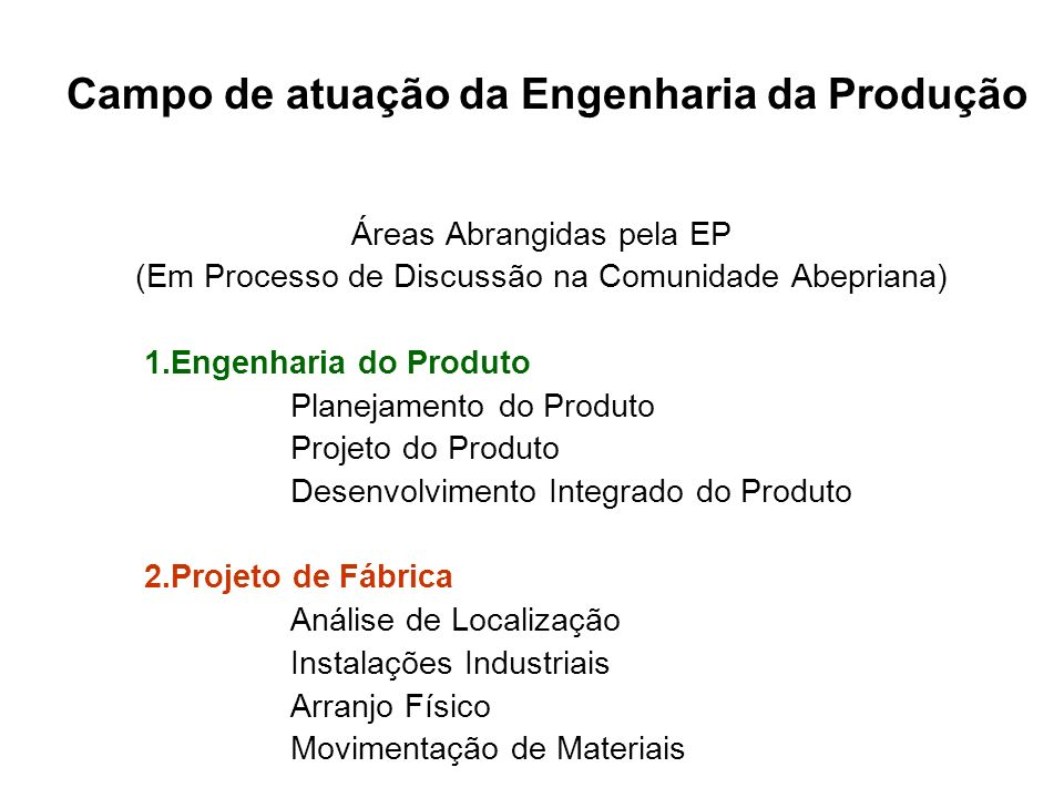 Campo de atuação da Engenharia da Produção Áreas Abrangidas pela EP (Em Processo de Discussão na Comunidade Abepriana) 1.Engenharia do Produto Planeja