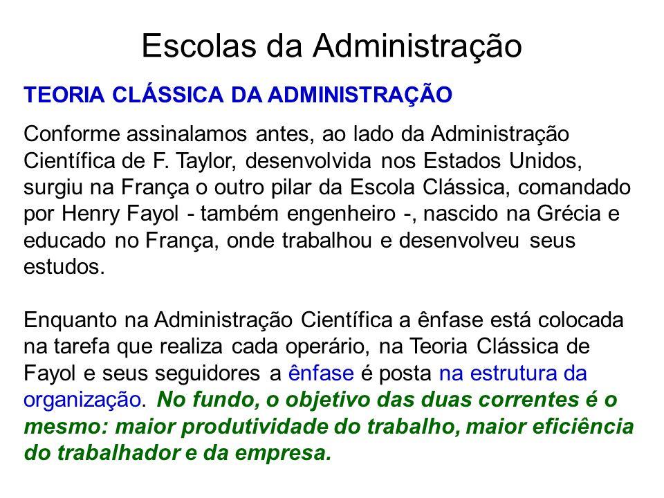 Escolas da Administração TEORIA CLÁSSICA DA ADMINISTRAÇÃO Conforme assinalamos antes, ao lado da Administração Científica de F. Taylor, desenvolvida n