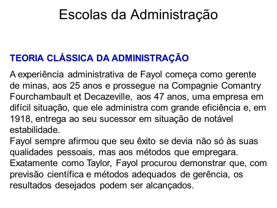 Escolas da Administração TEORIA CLÁSSICA DA ADMINISTRAÇÃO A experiência administrativa de Fayol começa como gerente de minas, aos 25 anos e prossegue