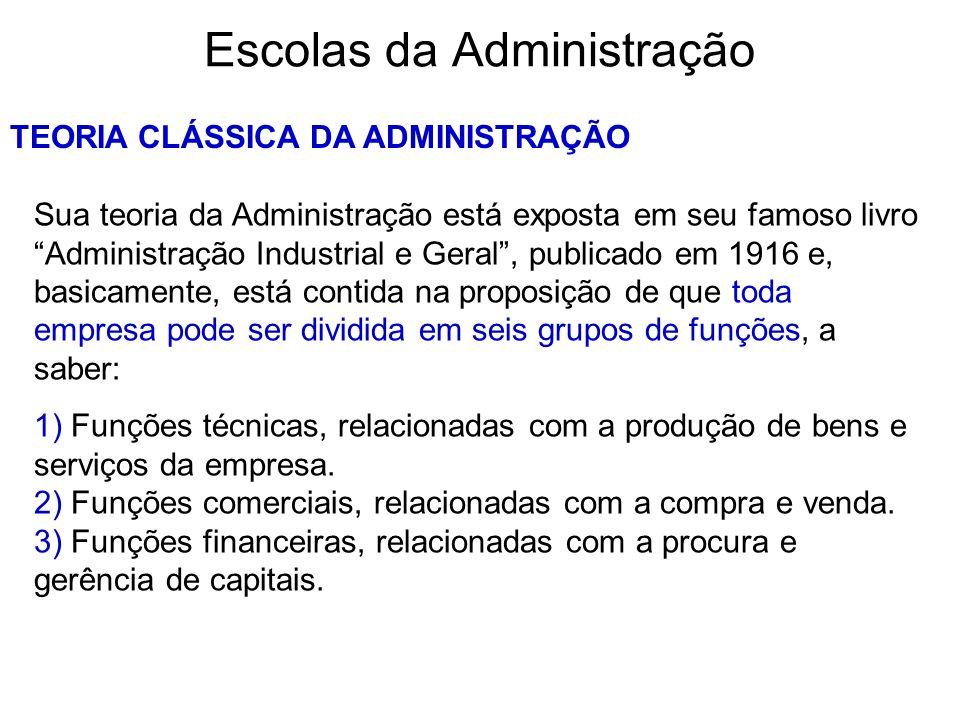 Escolas da Administração TEORIA CLÁSSICA DA ADMINISTRAÇÃO Sua teoria da Administração está exposta em seu famoso livro Administração Industrial e Gera