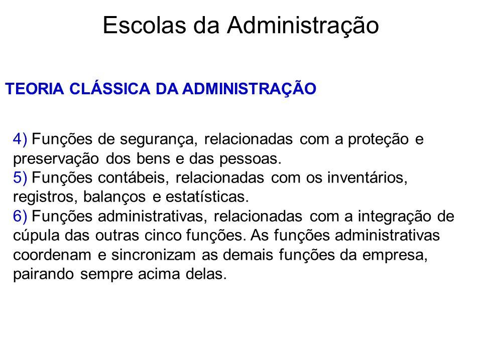 Escolas da Administração TEORIA CLÁSSICA DA ADMINISTRAÇÃO 4) Funções de segurança, relacionadas com a proteção e preservação dos bens e das pessoas. 5