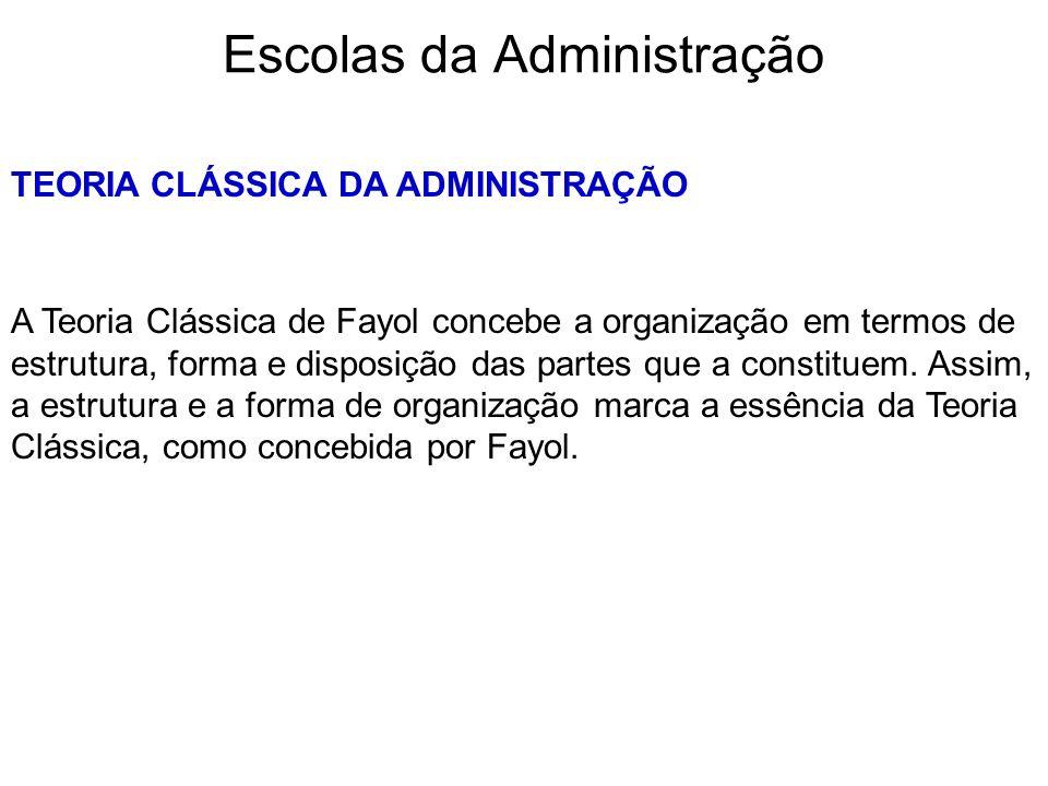 Escolas da Administração TEORIA CLÁSSICA DA ADMINISTRAÇÃO A Teoria Clássica de Fayol concebe a organização em termos de estrutura, forma e disposição