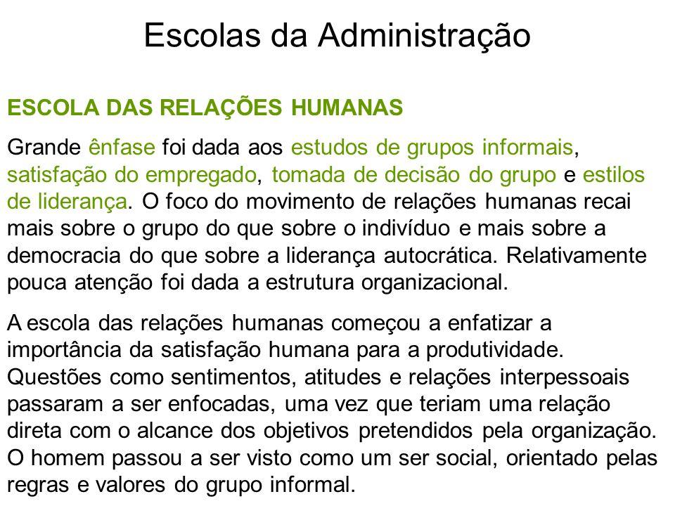 Escolas da Administração ESCOLA DAS RELAÇÕES HUMANAS Grande ênfase foi dada aos estudos de grupos informais, satisfação do empregado, tomada de decisã