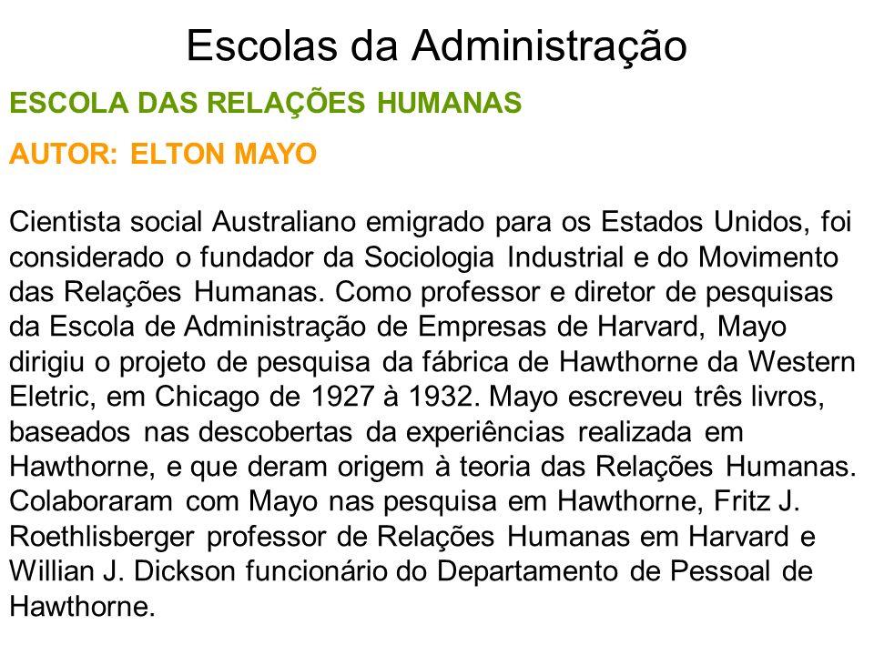 Escolas da Administração ESCOLA DAS RELAÇÕES HUMANAS Cientista social Australiano emigrado para os Estados Unidos, foi considerado o fundador da Socio