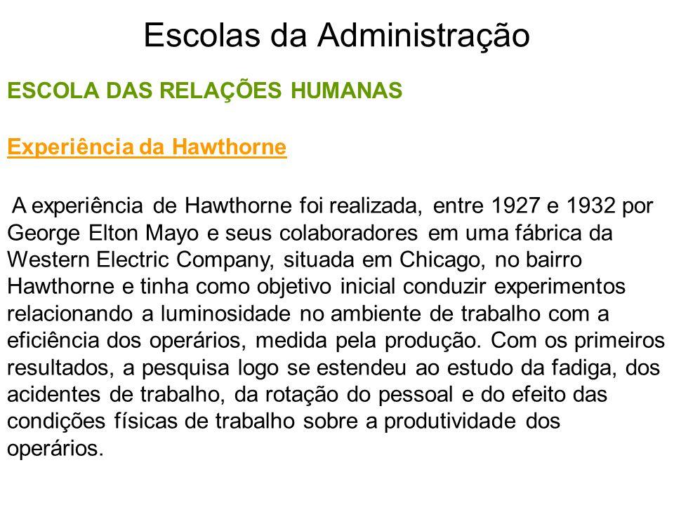 Escolas da Administração ESCOLA DAS RELAÇÕES HUMANAS A experiência de Hawthorne foi realizada, entre 1927 e 1932 por George Elton Mayo e seus colabora