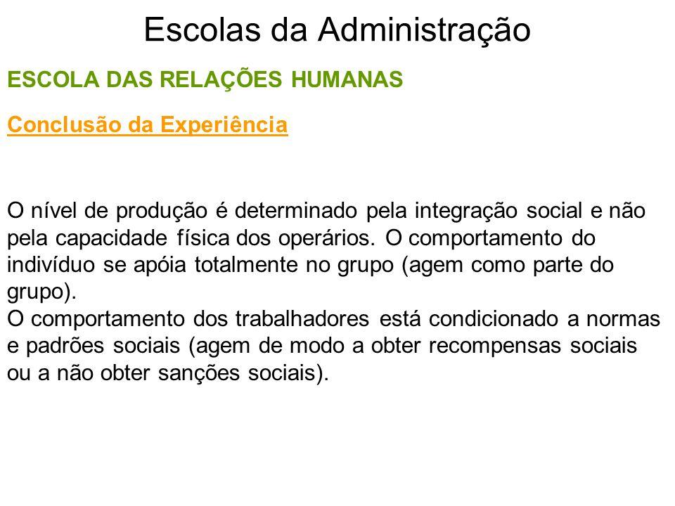 Escolas da Administração ESCOLA DAS RELAÇÕES HUMANAS O nível de produção é determinado pela integração social e não pela capacidade física dos operári