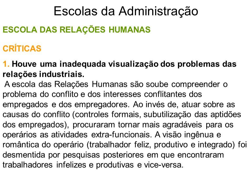 Escolas da Administração ESCOLA DAS RELAÇÕES HUMANAS 1. Houve uma inadequada visualização dos problemas das relações industriais. A escola das Relaçõe